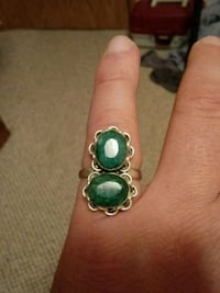 2 emeralds sterling ring size 8 and 1/2 Rochester, 98579