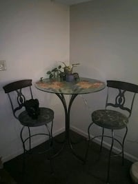 Glass Table with 2 Stools
