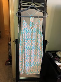 Ladies/Juniors Size Large, Nymphe boutique teal & peach patterned dress. Excellent used condition! Rarely worn, no flaws! Wichita, 67207