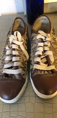 pair of brown-and-white high top sneakers Riverbank, 95367