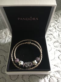 Pandora Leather Bracelet with Charms!
