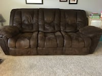 Brown, brushed leather couch