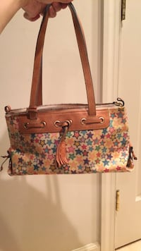 Brown and pink floral leather tote bag Centreville, 20120