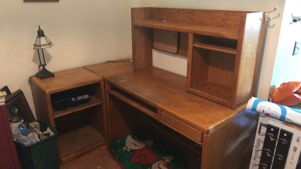 Used L Shaped Solid Oak Desk Set For Sale In Tracy Letgo
