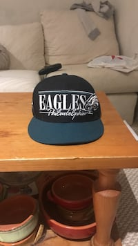 black, white, and blue Philadelphia Eagles snapback