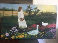 Large original oil painting Girl in Ranch 科奎特兰