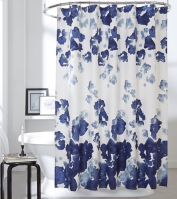 Used DKNY Park Slope Navy Floral Cotton Shower Curtain For Sale In