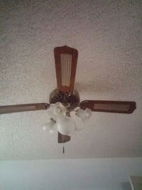 brown 5-bladed lighted ceiling fan