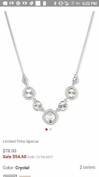 silver-colored necklace with diamond pendants screenshot