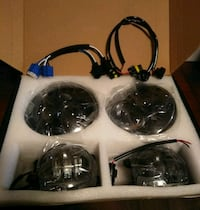 DOT Approved 7'' Black LED Headlights + 4'' Cree
