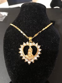 Women's 18 kt gold filled Virgin Mary heart shaped diamond rhinestone necklace 24 inch chain  Hasbrouck Heights, 07604