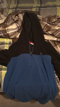 black and blue pullover hoodie