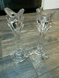 """Pair of 10"""" full lead crystal candlestick holders Springfield"""