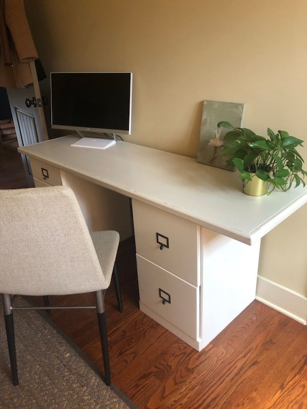 Used White Wooden Computer Desk With 1 File Cabinet Set Of Drawers And Chair Included For In Decatur