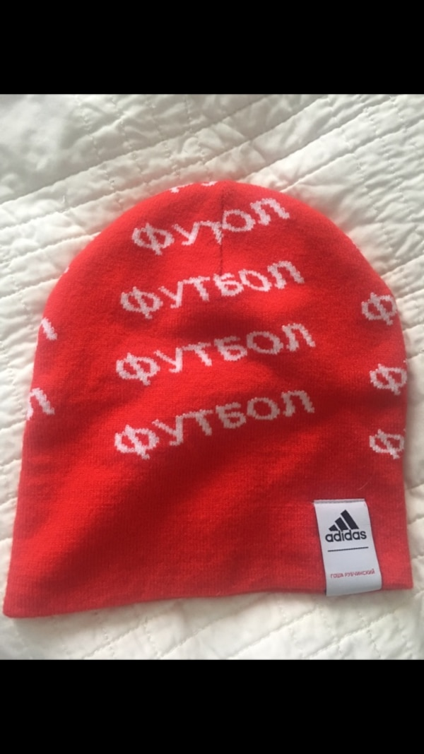 red and white Adidas knit cap