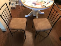 Two metal padded chairs, $25 for both