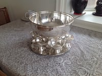 silver-colored punch bowl set