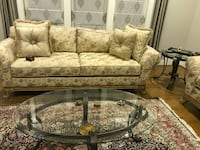 brown and beige floral fabric 3-seat sofa Vienna, 22180