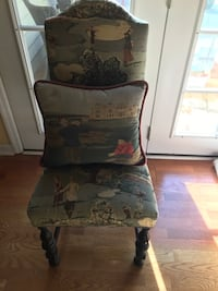 Antique upholstered chair in golf print with golf print  pillow Hilton Head Island, 29926
