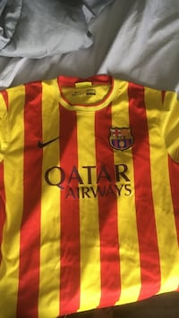 red and yellow striped Nike FC Barcelona crew-neck jersey top