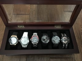 Round silver-colored analog watches