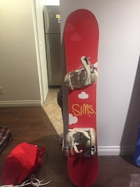 red and white snowboard with bindings Calgary, T1Y 6L4