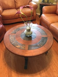 Wood/metal round coffee table with two side tables. Great condition, hardly used El Paso, 79936