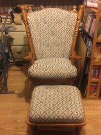 white and gray padded armchair