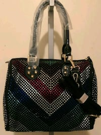 black and gray leather tote bag 377 mi