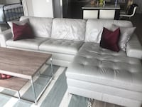 Grey leather couch sectional- REAL TOP GRAIN Leather McLean, 22102