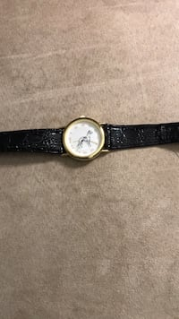 round silver-colored analog watch with black leather strap Hedgesville, 25427