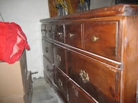 brown wooden 9-drawer lowboy dresser MONTREAL