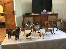 Horse collection, leather, brass and plastic