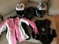 Motorcycle helmets, jackets, and tank bag