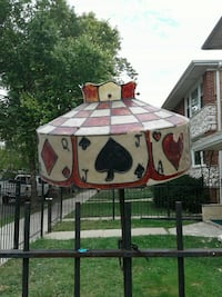 white and red tiffany-style lamp shade
