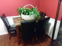 Faux Marble Table & 4 Leather Chairs Virginia Beach