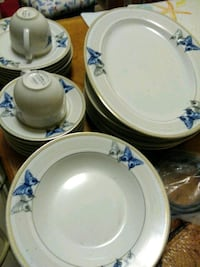 white and blue floral ceramic dinnerware set Wilmington