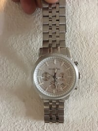 round silver-colored chronograph watch with link bracelet El Centro, 92243