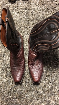 black-and-brown deep-scallop snip-toe knee-high cowboy boots