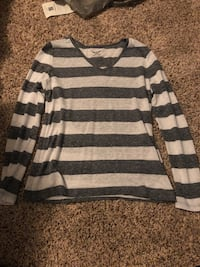 Navy blue and white stripe long sleeve shirt. Never warn.  McDonough, 30252