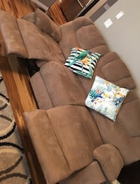 Brown fabric 3-seat sofa with recliners