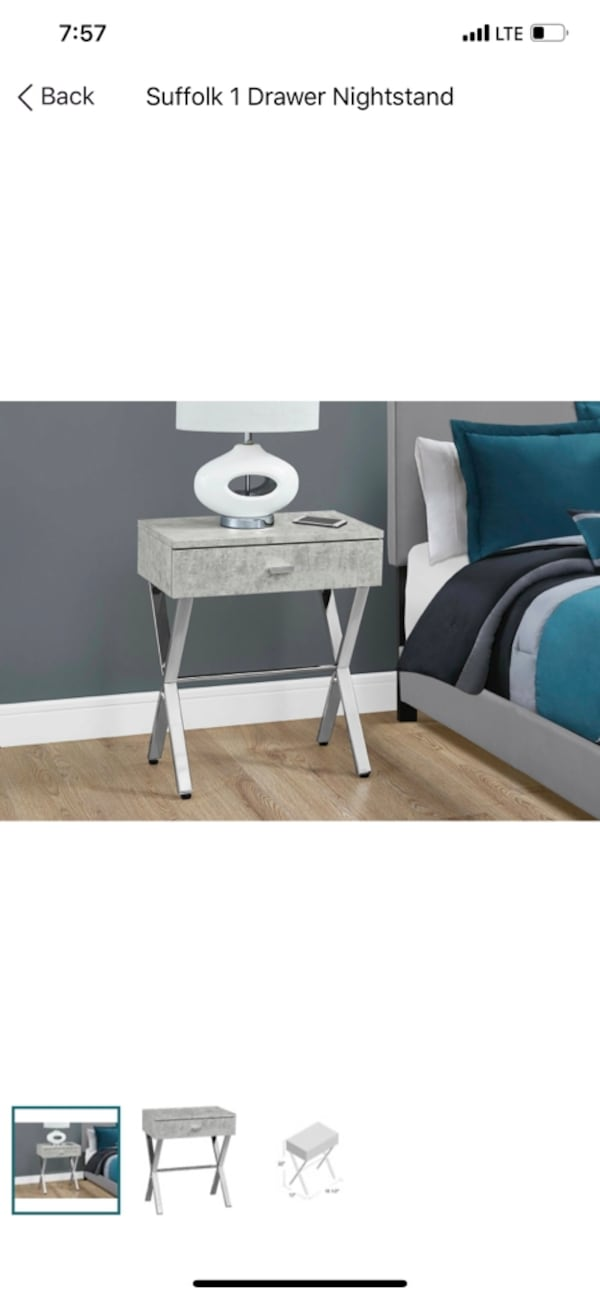 Stylish Gray & Silver Nightstands (2) adcd004b-d2d4-4fed-a407-268706be5b03