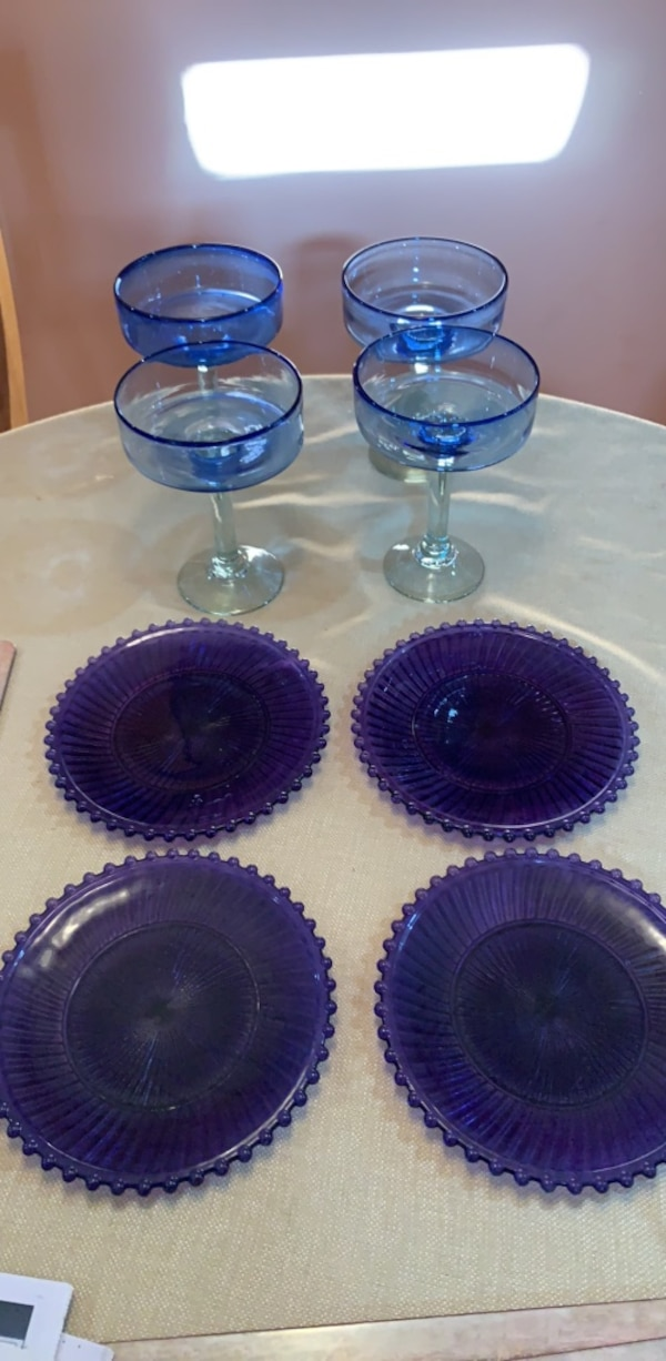 Margarita glasses - and four plates. Glass. I think from Pier 1. Only used once. Excellent condition. No scratches
