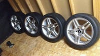 chrome 5-spoke car wheel with tire set Kitchener, N2E 4G5