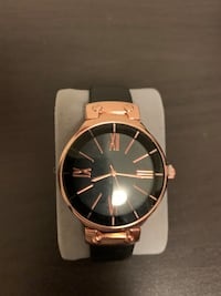 Rose Gold and Black Faux Leather Watch Pickering, L1X 2V5