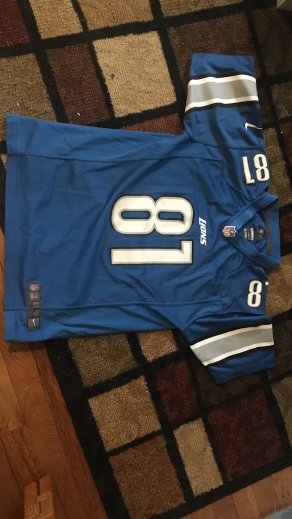 buy online 034d1 85330 blue and grey Nike NFL Detroit Lions 81 jersey shirt