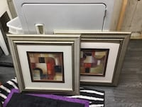 two red-black-white-and-brown abstract painting with gray metal frames Wilmot, N3A 4N1