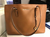 women's brown MK leather tote bag