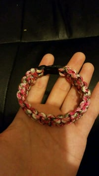 pink and beige hiker's bracelet