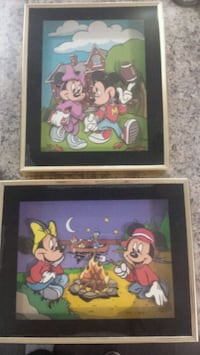 Old Mikey and Minnie 3D pics in shadowbox Edmonton